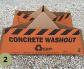 A temporary and disposable concrete washout pit.
