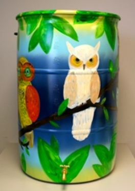 Water Conservation is a Hoot!  Mary Beth Romito, 2012 Rain Barrel Art Contestant.